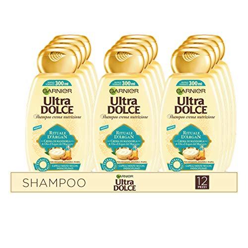 Garnier Multi Pack Shampoo Ultra Dolce Rituale d'Argan, Shampoo per Capelli Secchi e Indisciplinati, 300 ml, Confezione da 12