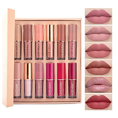 Rossetto liquido Set Matte Pearlescent Not Sticky Cup Lip Glaze 12 Color Book Lip Gloss Set, il regalo più caldo per la tua ragazza.