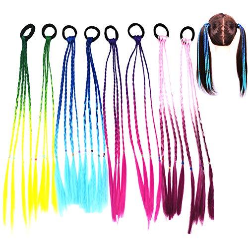 Extension Capelli per Bambine, Fascia per capelli intrecciata per estensioni dei capelli per bambini, ragazze con colori sfumati con fascia elastica per bambini e donne - 8 pezzi