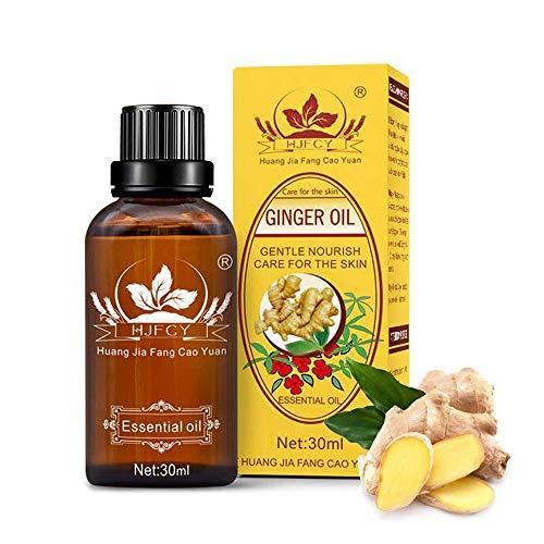 Olio di Zenzero, Ginger Essential Oil, Olio Essenziale di Zenzero, Olio per Massaggi Zenzero, Olio Essenziale Massaggio, Nuove Drenaggio Linfatico Ginger Oil -30ml