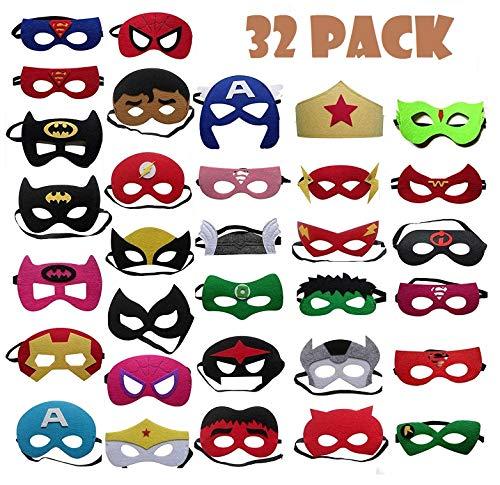 TATAFUN Maschere di Supereroi , Maschere Feltro Superhero Mask con Corda Elastica Supereroi Maschere Cosplay Maschere per Bambini Adulti Mascherata per Feste Mascherine 32 Pezzi