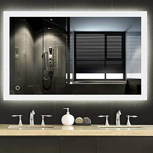 Specchio bagno, Specchio bagno con luce, Interruttore a sfioramento + anti-appannamento + 2835 LED, 70 * 90cm