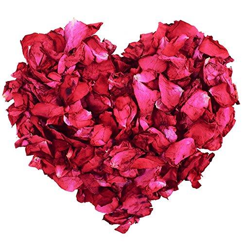 Petali di rosa essiccati naturali, 100 g, fiori veri secchi petali di rosa rossa per pediluvio corpo bagno spa matrimonio coriandoli casa fragranza fai da te artigianato accessori