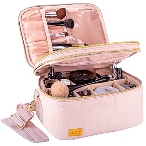 BQTQ Beauty Case da Viaggio Grande Capacità Cosmetici Case Makeup Bag per Donna Viaggio, Rosa