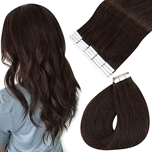 Easyouth Extension Capelli Veri Biadesivo Adesive Remy Human Hair Colore Marrone più Scuro da Brasiliano 12Pollici 60g 40pezzi Invisibile Naturali Adesive Morbidi