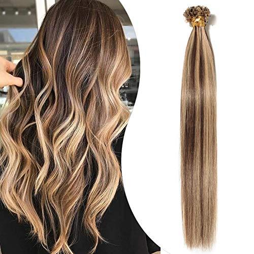 Elailite Extension Cheratina Capelli Veri 50 Ciocche 100% Remy Human Hair Balayage con Keratina Invisibili Capelli Indiani 40g 35cm #4/27 Marrone Cioccolato/Biondo Scuro
