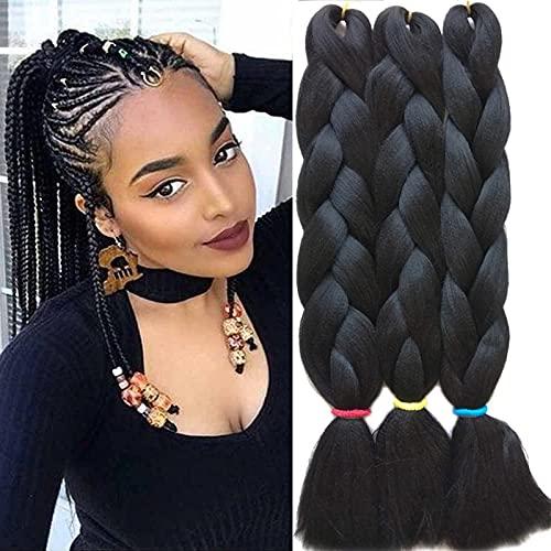 Lanse Intrecciare le estensioni dei capelli Kanekalon Jumbo Capelli sintetici Yaki Trecce Estensioni dei capelli 3 pezzi / 300 g / confezione (1#)