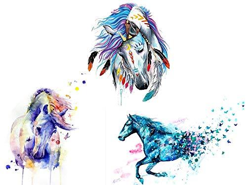 Finto tatuaggio a forma di cavallo, colori acquatici colorati, 3 scampoli per braccio, tatuaggio per avambraccio, motivo cavallo, colore 3