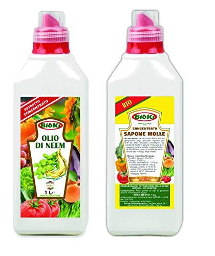 Olio di neem da 1 litro + Sapone Molle potassico per Agricoltura Confezione da 1 kg, Ideale per la Protezione e la Cura di Giardini e Colture