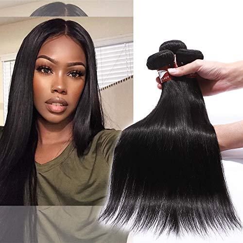 Elailite Extension Capelli Veri Tessitura Matassa 100gr Una Ciocca/pack Grade 8A Remy Human Hair Lisci Allungamento Capelli per Cucitura 60cm #1B Nero Naturale