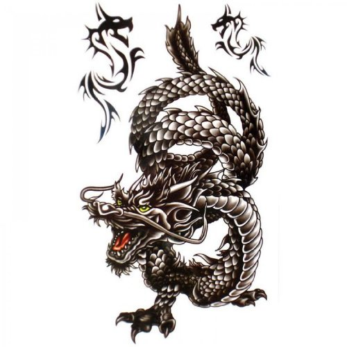 SPESTYLE impermeabile tatuaggio temporaneo atossico stickersCool e impermeabile tatuaggi drago nero temporanei per gli uomini