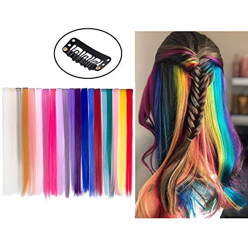 Extension Clip Capelli Colorati per Accessori Capelli Bambina 20 Pezzi 20 Colori 20'' Beauty7 (Tutti colori)