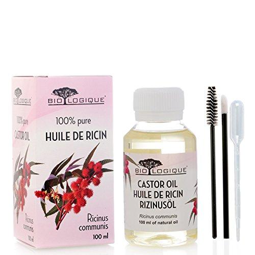 Olio di ricino – olio 100% puro spremuto a freddo - stimola la crescita dei capelli, ciglia e sopracciglia, rinforza le unghie. È un ottimo rimedio per la tua pelle. Con un set di applicatori - 100 ml
