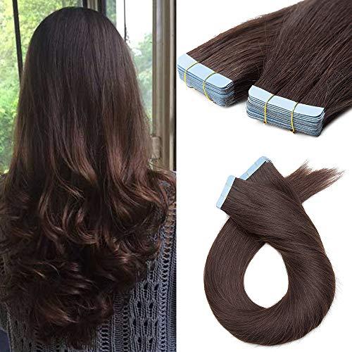 Extension Capelli Veri Adesivo Biadesive 40cm 10PCS 2.5g/Fascia 2 Marrone Scuro Remy Human Hair Tape in Estensioni Naturali Lisci