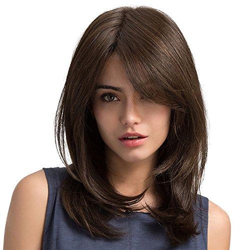 TopWigy Parrucche a onde lunghe Parrucca marrone Parrucche per capelli sintetici dritti di media lunghezza per donna Capelli resistenti al calore per la festa quotidiana 20' (Marrone)