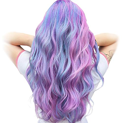 STfantasy Unicorn Parrucca Multicolore Lunga Ondulati parrucche donna colorate Anime Carnevale Cosplay Party