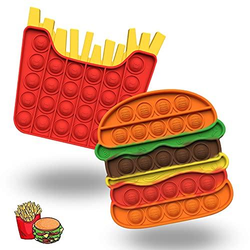 Push Popping Bubble giocattolo sensoriale per autismo Poke Pop Toys speciali necessità antistress silicone per alleviare l'ansia arcobaleno, giocattolo per bambini (hamburger e patate)