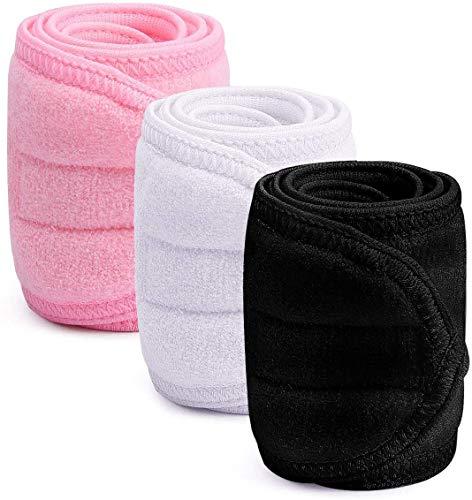 JFAN Fascia Spa 3 Pezzi Asciugamano Fascia Per Capelli Avvolgere Larga Compongono Spugna Elastica Yoga Sport Doccia Con Nastro Magico