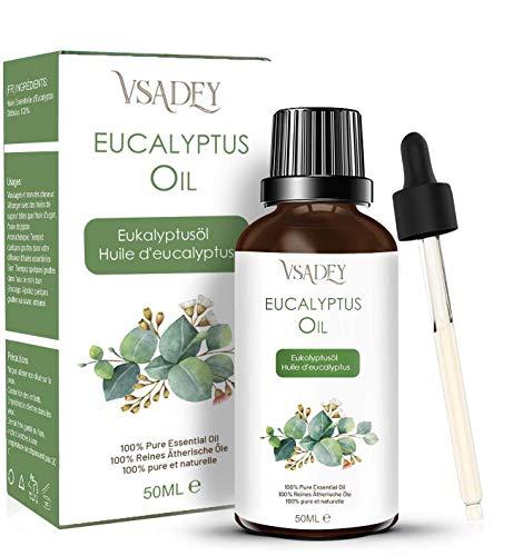 Olio Essenziale di Eucalipto Bio 50ml - 100% Puro E Naturale, Olio di Eucalipto per Aromaterapia Diffusore - Eucalyptus Essential Oil