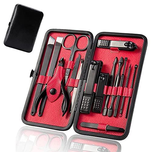 Tagliaunghie Set Professionale Set Manicure Grooming Kit Strumenti 15Pcs per Manicure e PedicureKit Unghie in Acciaio Inossidabile Kit Cura Unghie Donna Manicure e Pedicure Attrezzi Kit con Box