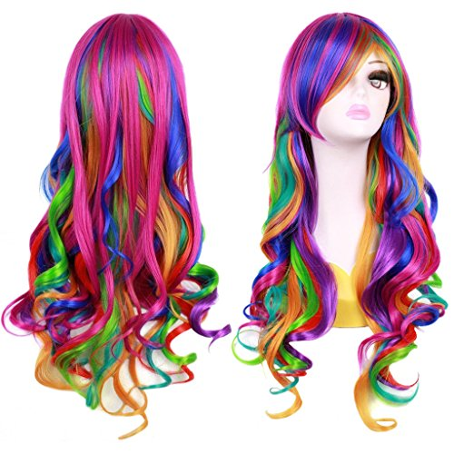 Ateid- Parrucca Multicolore ricci Wave, Cosplay Halloween, per Donna