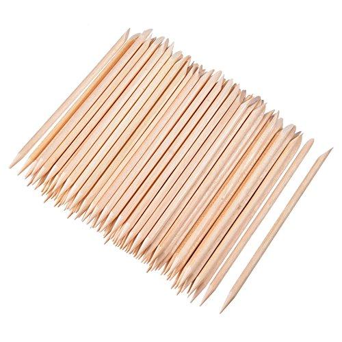 100 Pezzi Bastoncini di Legno Arancio per Unghie Cuticola Bastone per Spingi Remover Manicure Arte Pedicure, 4.3 Pollici