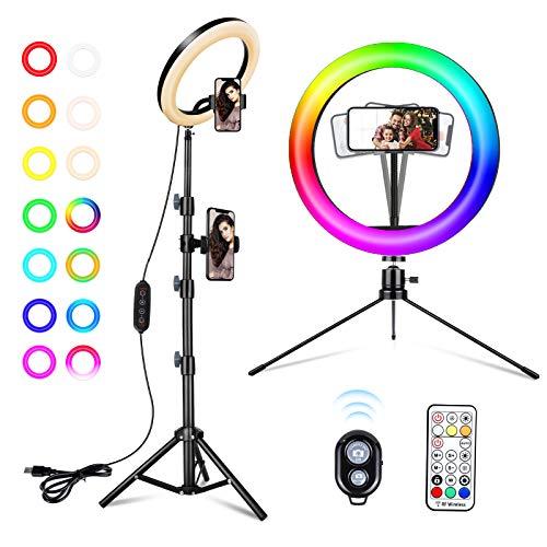 2NLF Ring Light,Selfie 10'Luce ad anello LED colori per Youtube/TIK Tok/video/fotografia,26 modalità colori regolabili,3 Modalità di Illuminazione e 10 Luminosità,2 telefono cellulari posizionati
