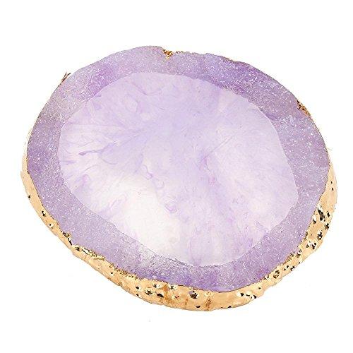Palettine in resina naturale con bordo dorato per nail art fai da te, smalto per unghie e smalto per nail art (viola)