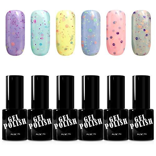 KADS 6PCS Soak Off kit smalto semipermanente blu 8ml UV LED Smalto semipermanente unghie in Gel gel polish Nail Art set