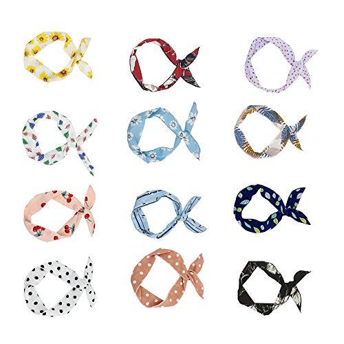 LONMEI Donna Fasce per Capelli - Vintage Eleganti Floreale Bowknot Dot con Filo di Ferro Multicolore Yoga Cerchietti Accessori Per Ragazze 12 Pezzi