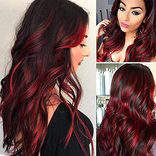 Parrucca marrone misto rosso capelli lunghi ricci a strati parrucca ondulata parrucca sintetica cosplay resistente al calore parrucca costume festa di halloween