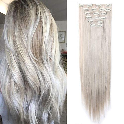Elailite Extension Capelli Clip Lisci Balayage Hair Extensions Effetto Naturale 8 Fasce Full Head Lunghi 66cm 140g #Biondo Cenere mix Grigio Argento