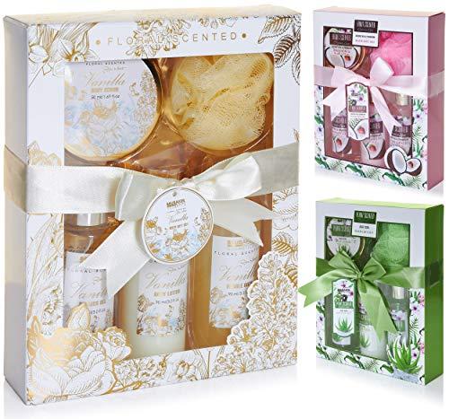 BRUBAKER Cosmetics set beauty da bagno e doccia 'Vaniglia, rose e menta' - set regalo in 5 pezzi presentati in confezione regalo
