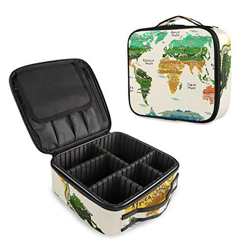 Beauty case professionale da viaggio con mappa del mondo con dinosauri, trousse per trucchi e articoli da toeletta, borsa da viaggio per donne