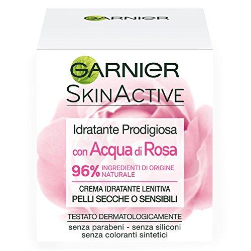 Garnier Crema Viso Idratante Lenitiva Skinactive, Ottima per Pelli Secche o Sensibili, Arricchita con Acqua di Rosa, 50ml