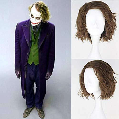Royalvirgin The Joker Cosplay parrucca sintetica breve e soffice, parrucca da uomo, colore verde lino per feste Cosplay costume Hallowee