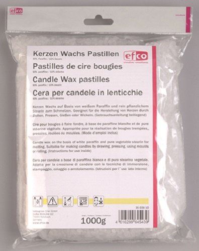 efco Candele di Cera pastiglie 90% paraffina / 10% stearina 1.000 g, Bianco