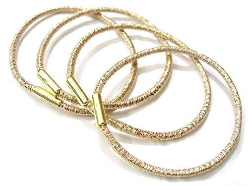 Rougecaramel-Elastici per capelli Lurex, dorati (Confezione da 6)
