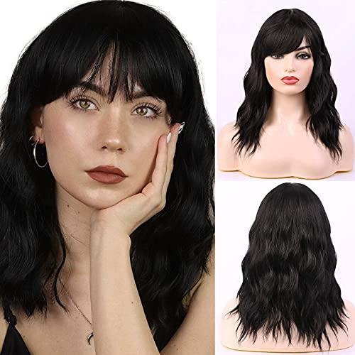 HAIRCUBE Parrucche corte ondulate naturali con frangia d'aria Parrucca nera Ombre per le donne Parrucca naturale per parrucca delle donne di Cosplay del partito