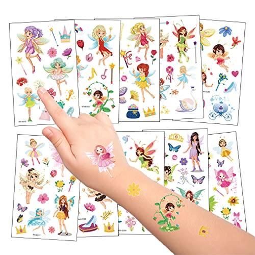 10 Fogli Flash Tatuaggi Temporanei per Bambini, Fata Principessa Fiore Tatuaggi, Impermeabile Finti Tattoos Adesivi per Ragazza Ragazzo Festa di Compleanno Regalo