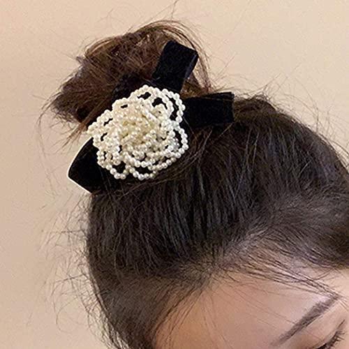 Generse - Elastici per capelli con fiore di perla, per coda di cavallo, per capelli bianchi, accessori vintage per capelli per donne e ragazze