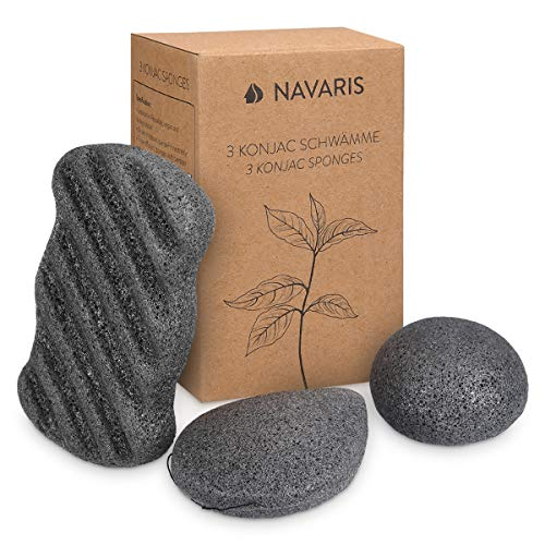 Navaris 3x Spugne Konjac Pulizia Viso Corpo - Set Spugnette Naturali Esfolianti Pelli Normali Grasse Sensibili - Spugna al Carbone Attivo - 3 Misure