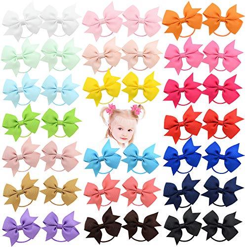 40pcs 2 pollici neonate capelli fiocchi cravatte per capelli fascia elastica titolare coda di cavallo fascia per capelli accessori per capelli per bambini piccoli