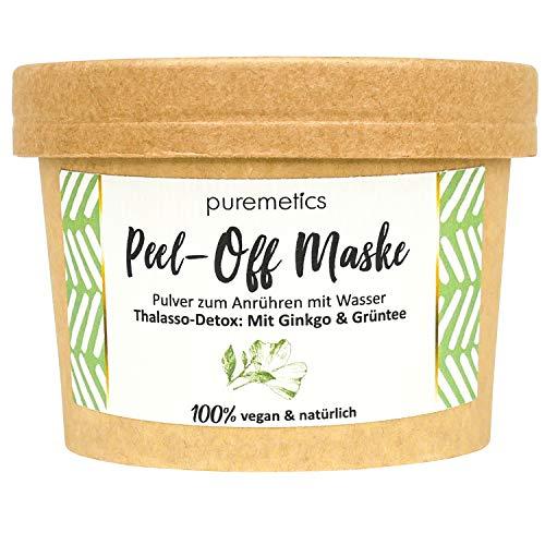 Puremetics - Maschera Peel-Off 'Thalasso Detox' con Ginkgo & tè verde', 100% cosmetici naturali vegani, senza plastica, senza olio, per tutti i tipi di pelle, avvelenamento per pori