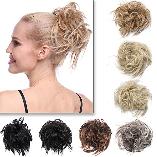 Silk-co Chignon Extension con Elastico Posticci per Crocchia Coda Capelli Disordinati Messy Hair Bun Updo Chignon Capelli Finti–Grigio Scuro