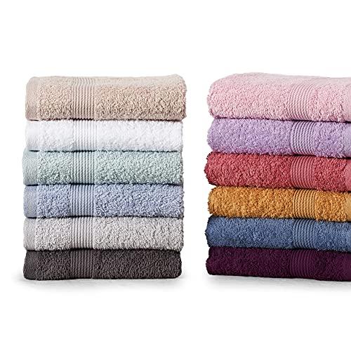 Set di Asciugamani Per Il Viso Piccoli da 12 Pezzi, Cotone Turco