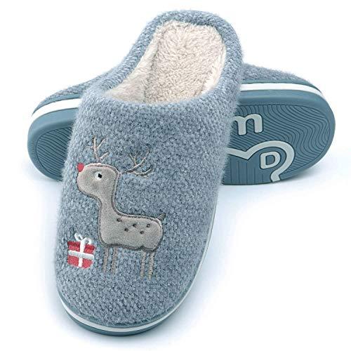 WINZYU Pantofole Donna Uomo Invernali Peluche Morbido Caldo Antiscivolo Renna Regalo Scarpe da Casa, Blu 42/43 EU