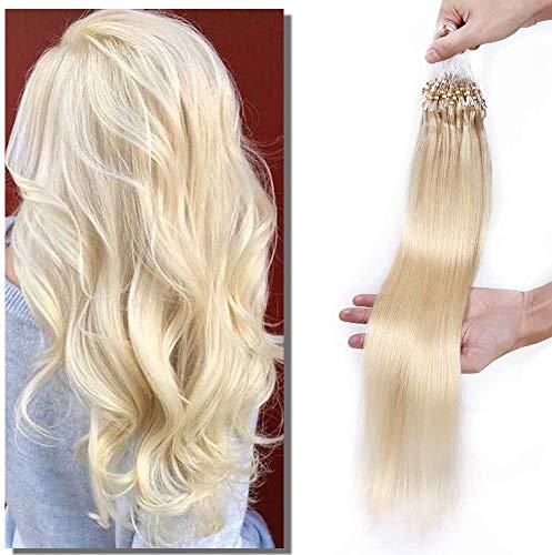 Elailite Extension Microring Capelli Veri Anelli 100 Ciocche 50g Grade 8A Remy Human Hair con Anellini per Capelli Lisci #60 Biondo Platino