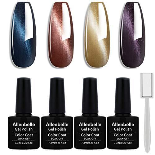 Allenbelle Smalto Semipermanente Magnetico Nail Polish UV LED Gel Unghie 7.3ml (Kit di 4 pcs 7.3ML/pc) (MY4PC001)