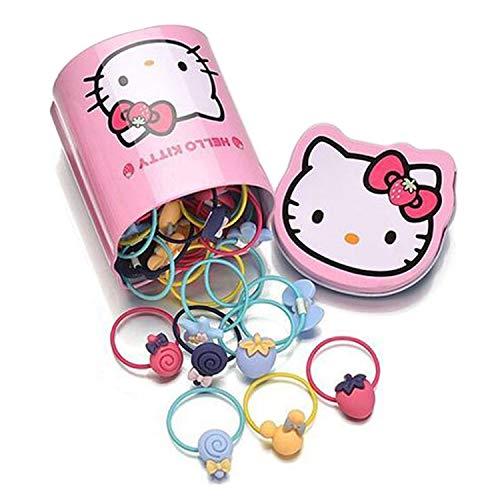 Set di 40 elastici per capelli per bambine e ragazze, con graziosi fiocchi per capelli, per coda di cavallo, con scatola portaoggetti